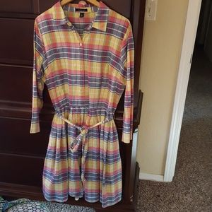 Land's End madras print dress with button front